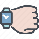 hand, smartwatch, time, timing, watch, wrist phone icon