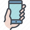 hand, hand gestures, hold, mobile, smartphone icon