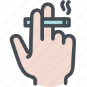 cigarette, fingers, hand, smoke, smoking icon