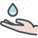 drop, hand, wash hands, water, water hand icon