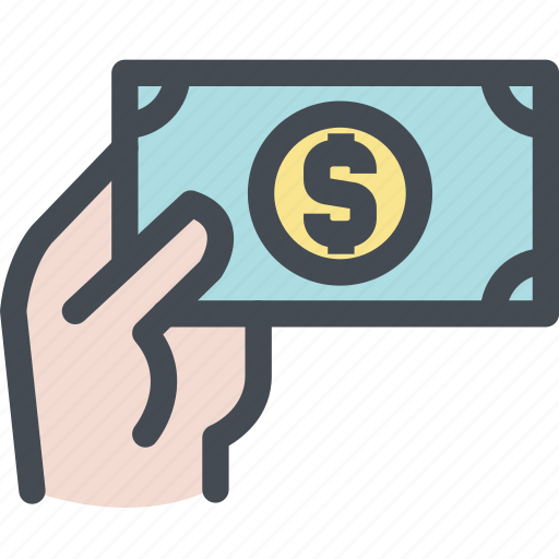 cash, dollars, fingers, hand, money, pay icon