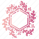 doodles, floral, flowers, frame, hexagon, leaves, wreath icon