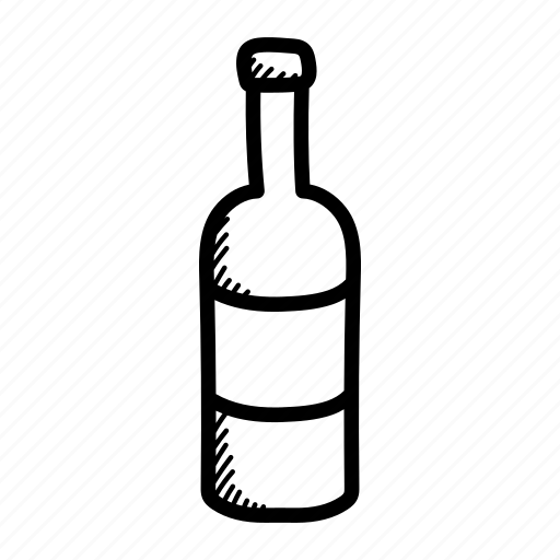 alcohol, bottle, cheers, drinks, hand drawn, vine, wine bottle icon