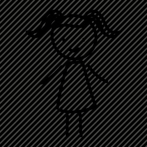 girl, hand drawn, school, schoolgirl, teenager icon