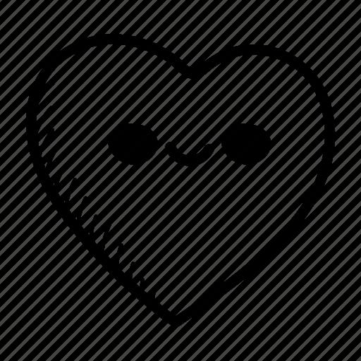 emoji, face, hand drawn, happy, heart, heart face, love icon