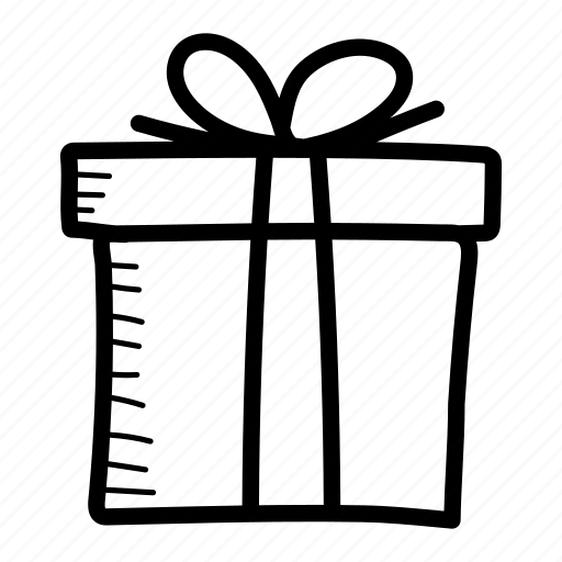 donation, gift, gift box, hand drawn, present, surprise icon