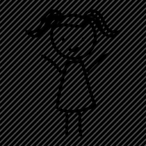 child girl hand drawn happy personage schoolgirl teenager icon Fish Emoji