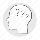 faq, head, issue, problem, questions, quiz, trouble, why icon