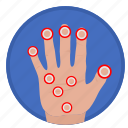 biometry, fingers, gesture, hand, scan icon