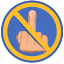 cancel, fuck, gesture, hand, rule icon