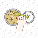 cooking, finger, food, fruit, gesture, hand, healthy, kitchen, restaurant, rice, soup, spoon icon