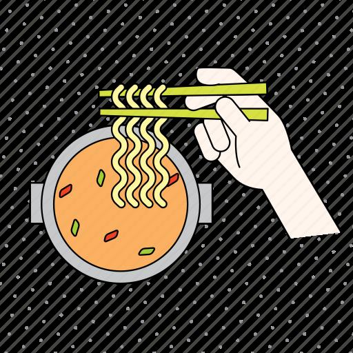 chopsticks, color, cooking, finger, food, fruit, gastronomy, gesture, hand, kitchen, noodle, restaurant icon