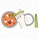 chopsticks, color, cooking, finger, food, gesture, hand, healthy, kitchen, restaurant, spoon icon