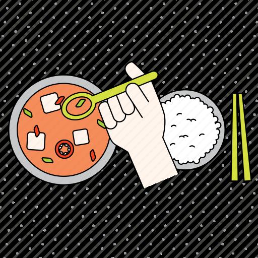 chopsticks, color, cooking, finger, food, gesture, hand, healthy, kitchen, restaurant, spoon icon