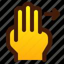 arrow, finger, gesture, hand, left, three