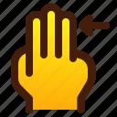 arrow, finger, gesture, hand, right, three