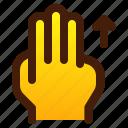 arrow, finger, gesture, hand, three, up icon
