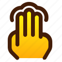 finger, gesture, hand, tap, three icon