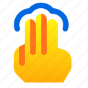 finger, gesture, hand, tap, three icon