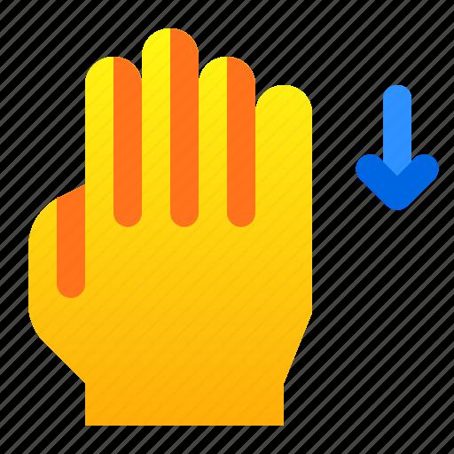down, gesture, hand, swipe icon