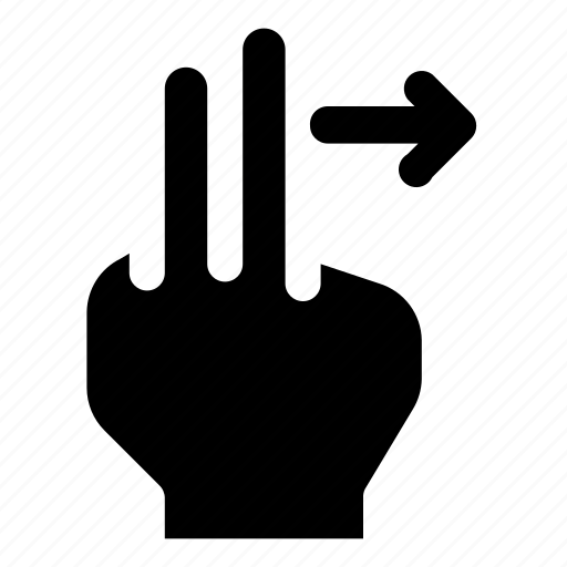 arrow, finger, gesture, hand, right, swipe, two icon