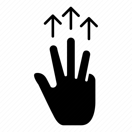 finger, gestures, hand, mobile, three, touch icon