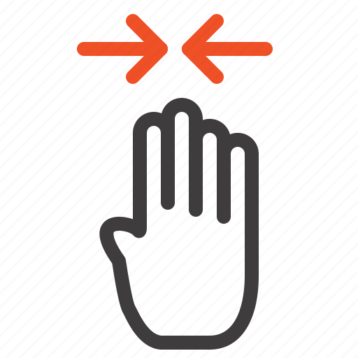 arrow, finger, four, gesture, pinch icon