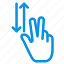 down, finger, gestures, two, up icon
