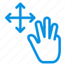 finger, gestures, hold, three icon