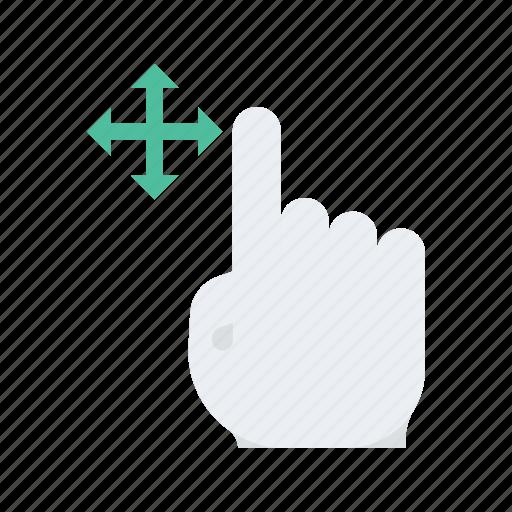click, gesture, hand, move, press icon