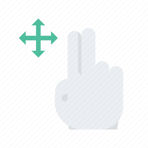 click, finger, gesture, hand, move, press, two icon