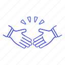 1, agree, agreement, business, compromise, concession, deal, gestures, hand, partners, shake icon