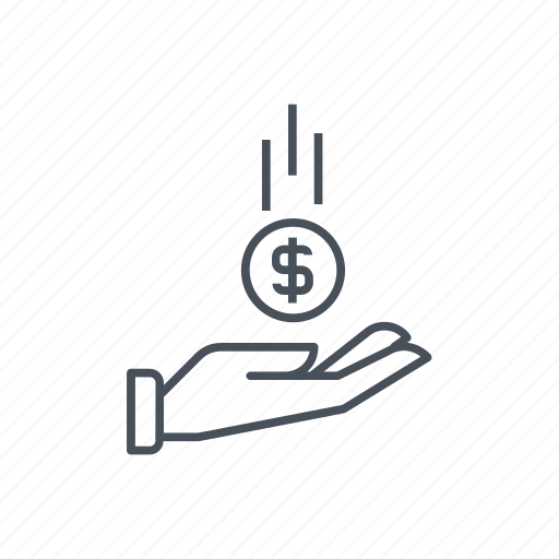 business, coin, hand, incomes, money, receive, receiving icon