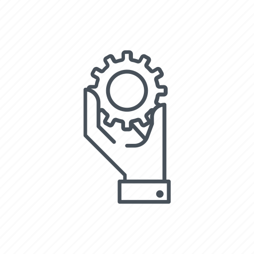 gear, hand, settings, tools icon