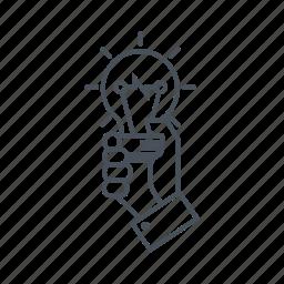 bulb, creativity, electric, hand, idea, lamp, light icon