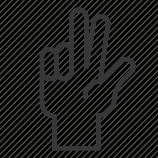 Interaction, hand gesture, three, hand, finger, gesture icon