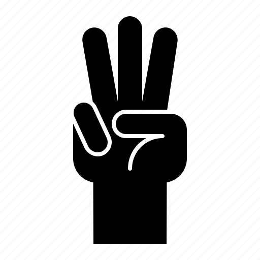 finger, gesture, hand, hand gesture, interaction, three icon