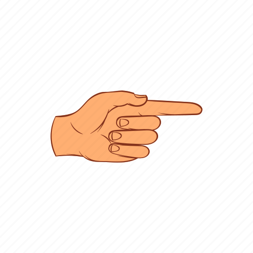 cartoon, finger, forefinger, gesture, hand, point, sign icon