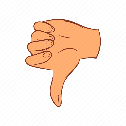 cartoon, down, finger, gesture, hand, sign, thumb icon