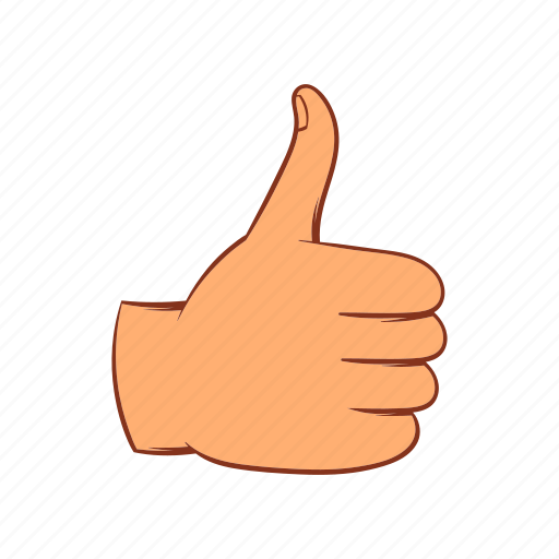 cartoon, finger, good, hand, sign, success, up icon