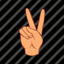 cartoon, finger, gesture, hand, number, two, v