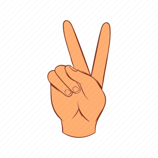 cartoon, finger, gesture, hand, number, two, v icon