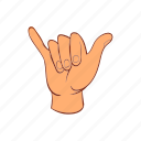 cartoon, communication, hand, palm, signal, surfing icon