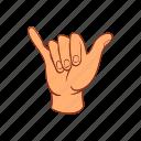 surfing, communication, signal, hand, palm, cartoon icon