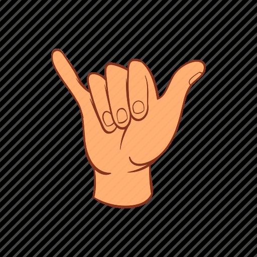 cartoon, communication, hand, palm, signal, surfing icon