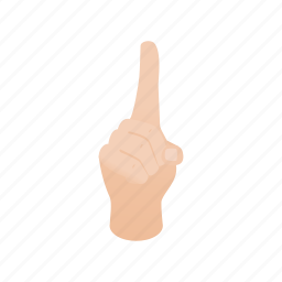 attention, forefinger, gesture, hand, isometric, one, up icon