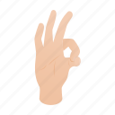 arm, finger, gesture, hand, isometric, ok, success icon