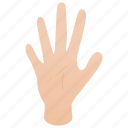 finger, five, hand, human, isometric, palm, person icon