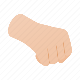 concept, fight, fist, gesture, hand, isometric, power icon