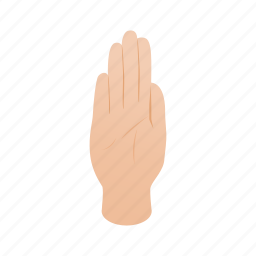 forbidden, gesture, hand, isometric, no, palm, stop icon
